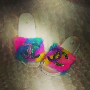 Shoes - Rainbow Initial Fur slippers